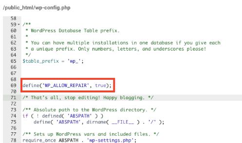 define('WP_ALLOW_REPAIR', true)配置文件