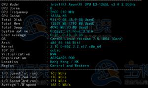 BlueHost香港服务器Standard方案速度和性能评测