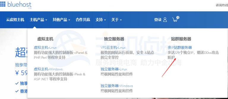 登录BlueHost中文官网