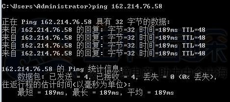 BlueHost美国站群服务器ping值测试