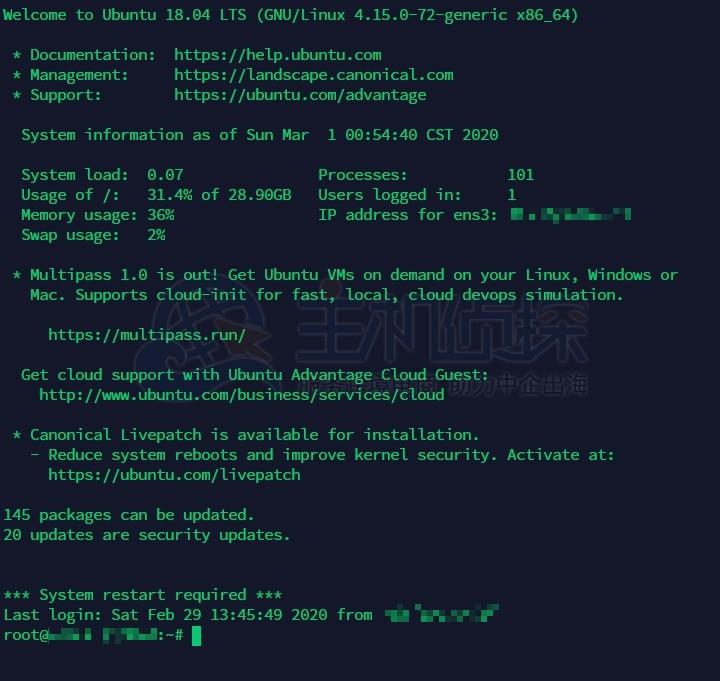 Hostwinds SSH登录成功页面