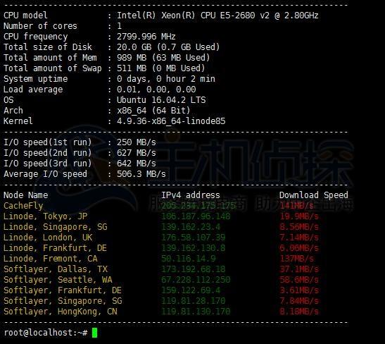 Linode VPS内存CPU测试