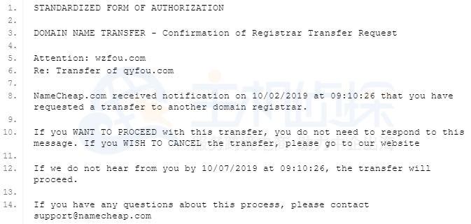 NameCheap最后通知邮件
