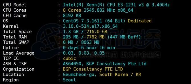 RAKsmart韩国服务器配置信息测试