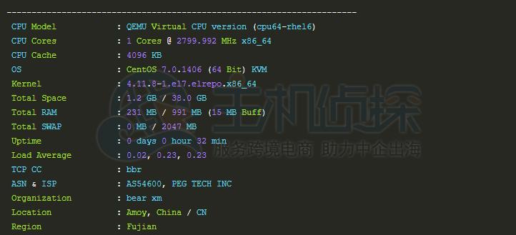 日本VPS配置性能测试
