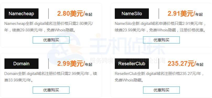 Namecheap.digital域名注册商价格