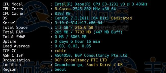 RAKsmart韩国服务器配置信息