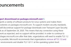 微软Linux 软件存储库9 月 24 日起 将不再支持 TLS 1.0/1.1