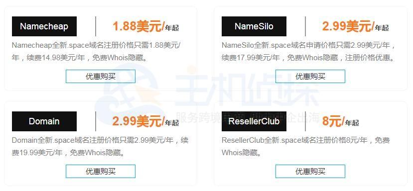 space域名注册价格