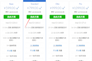 BlueHost香港服务器方案页面