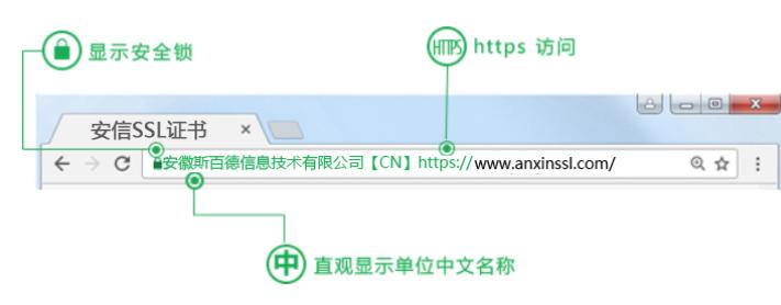 安信SSL证书官网安装EV SSL证书显示绿色名称的案例