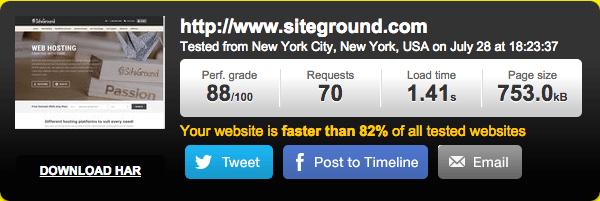 美国主机SiteGround速度