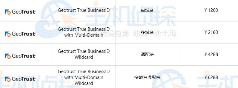 GeoTrust企业型SSL证书申请价格表