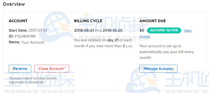 管理帐户页面