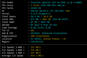 RackNerd洛杉矶CPU和I/O读写