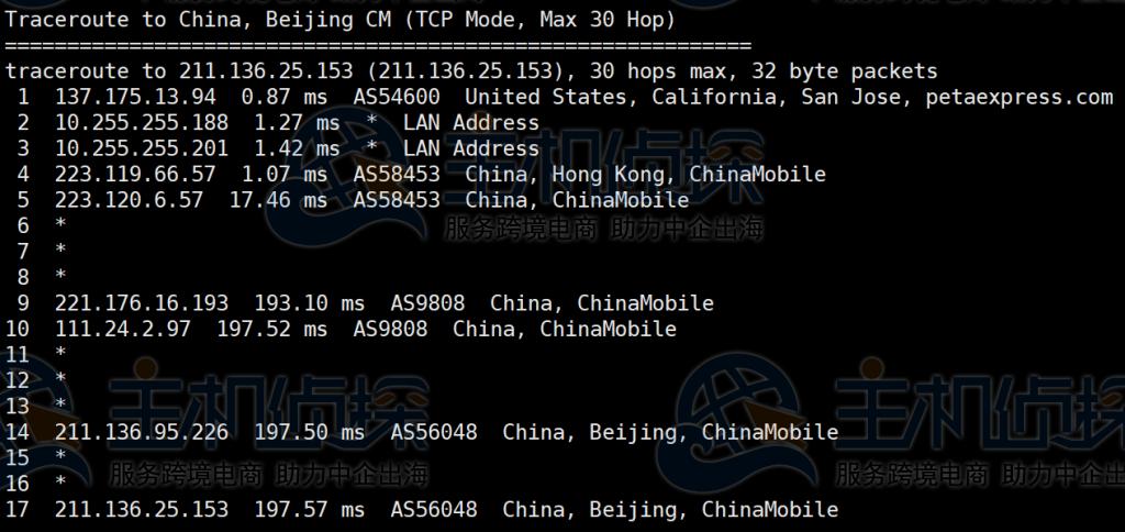RAKsmart美国服务器回程路由追踪