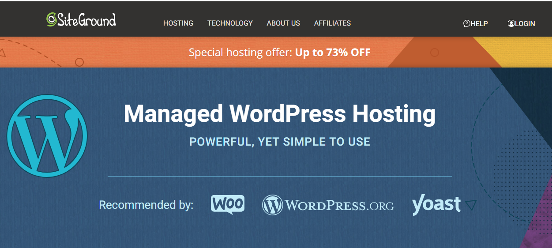 Siteground wordpress虚拟主机的首页
