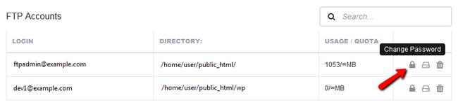 更改 FTP 帐户的密码