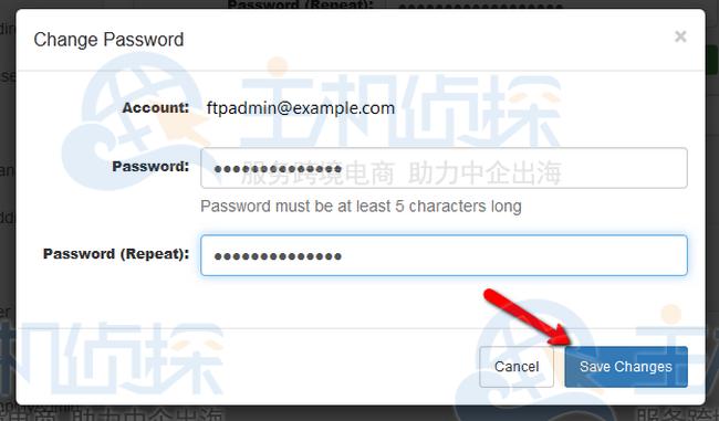确认更改 FTP 帐户的密码