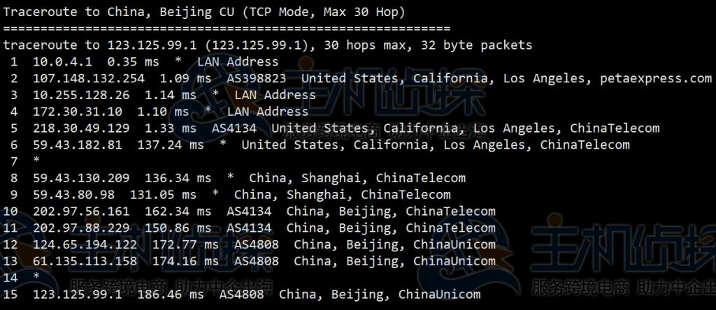 RAKsmart美国云服务器回程路由器追踪