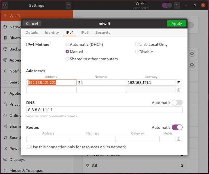 Ubuntu配置静态IP