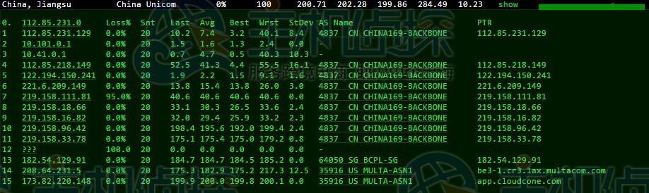 CloudCone洛杉矶机房优化线路路由测试
